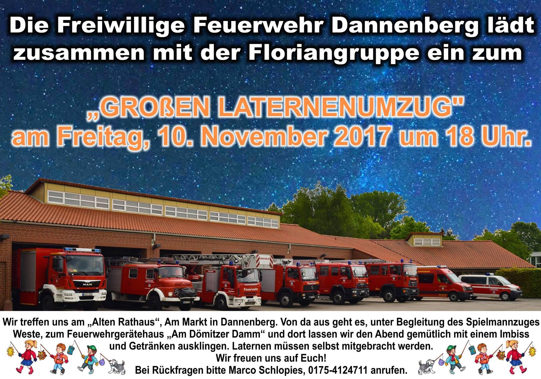 Großer Laternenumzug am Freitag den 10.11.2017